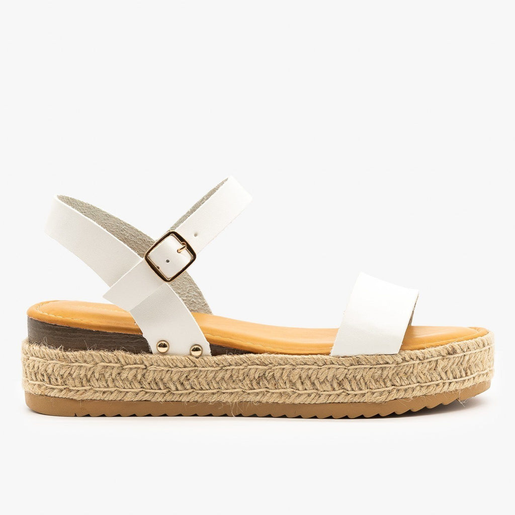 Womens Everyday Espadrille Flatforms - Bamboo Shoes - White / 5