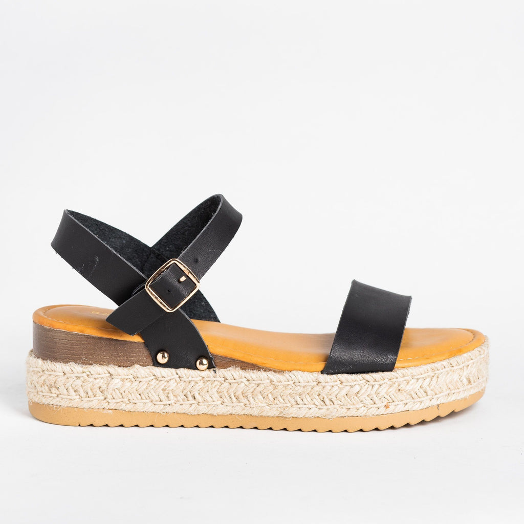 Womens Everyday Espadrille Flatforms - Bamboo Shoes - Black / 5