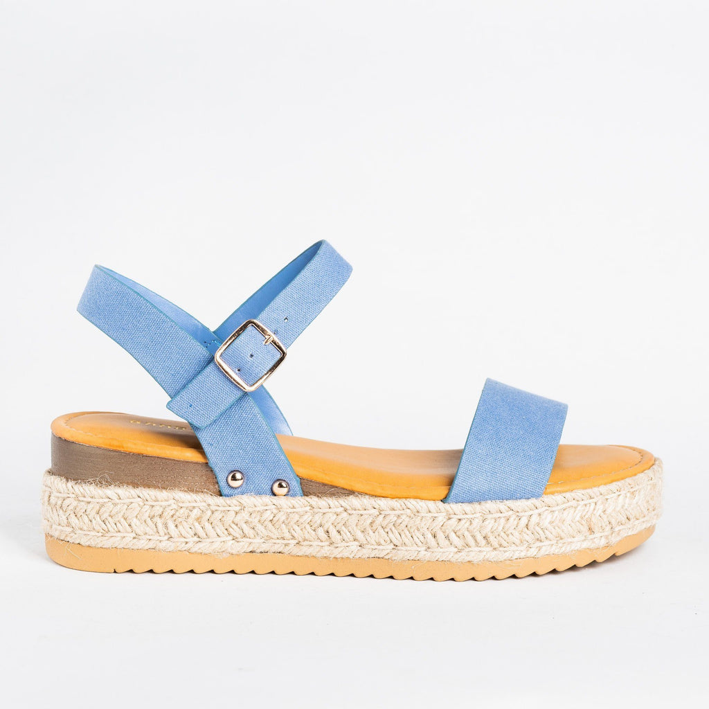 Womens Everyday Espadrille Flatforms - Bamboo Shoes - Blue Denim / 5