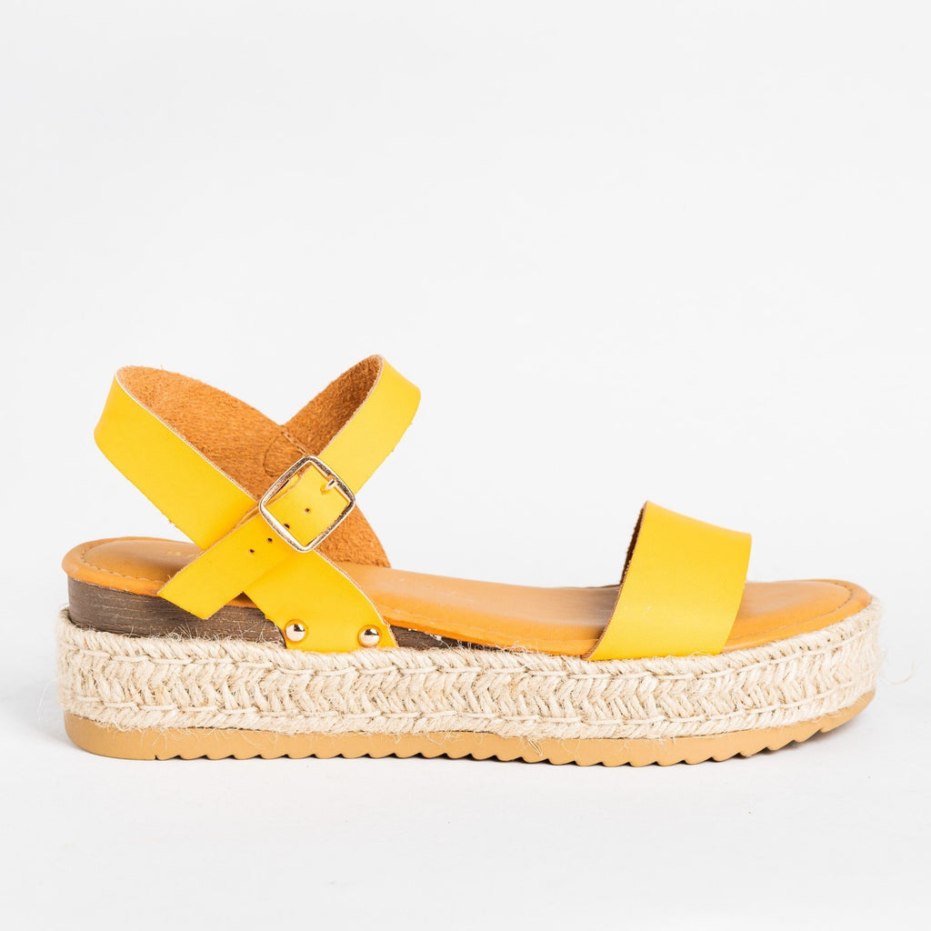 Womens Everyday Espadrille Flatforms - Bamboo Shoes - Marigold / 5