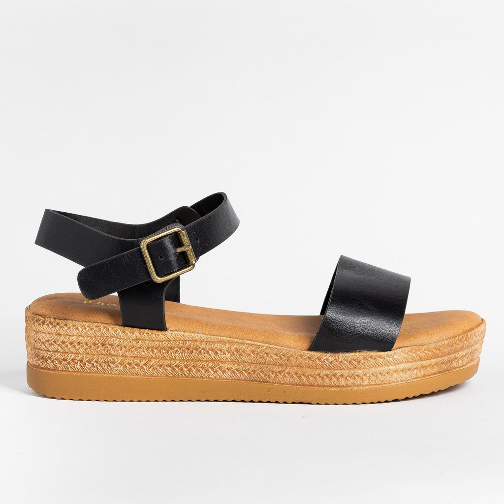 Womens Everyday Espadrille Wedges - Bamboo Shoes - Black / 5