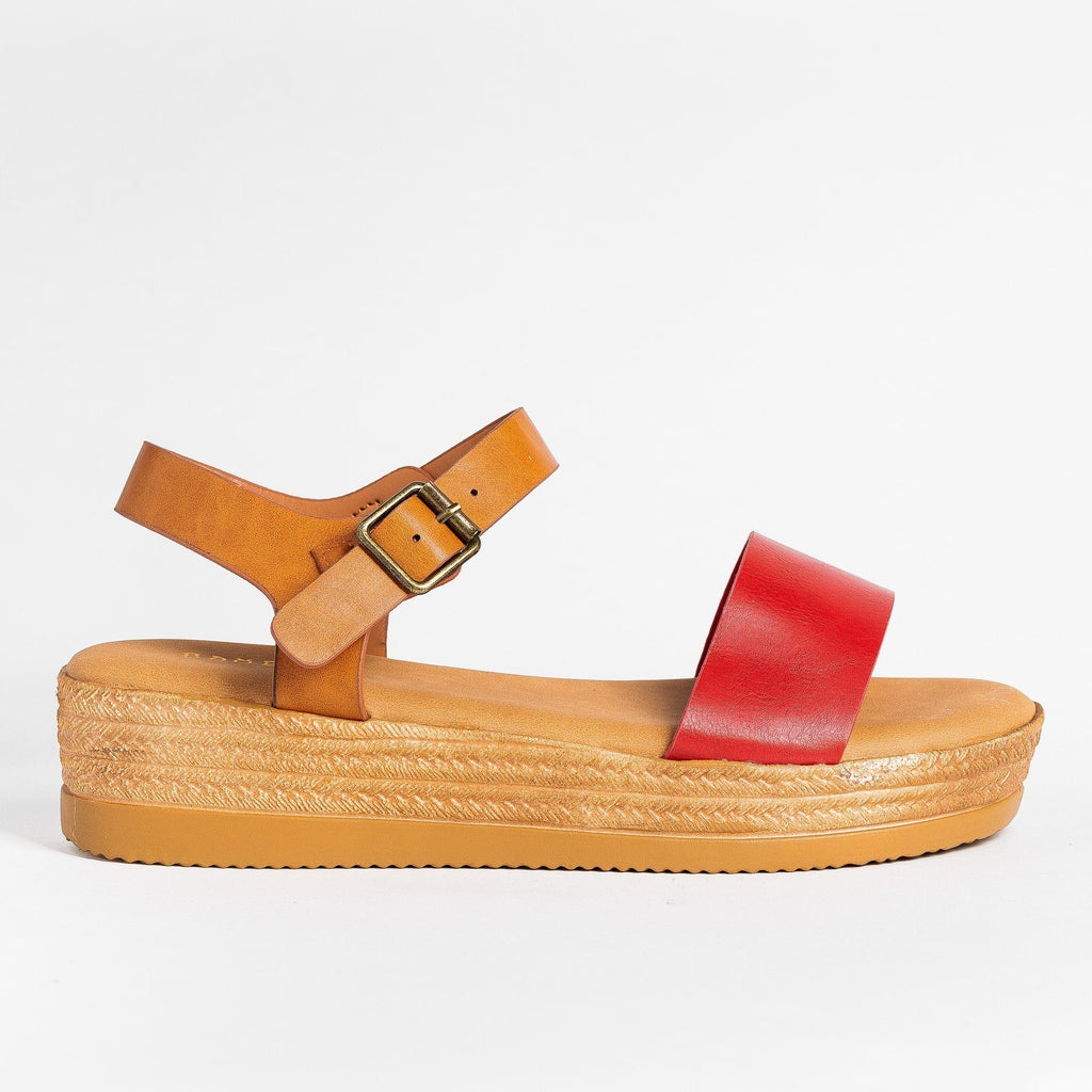 Womens Everyday Espadrille Wedges - Bamboo Shoes - Red / 5