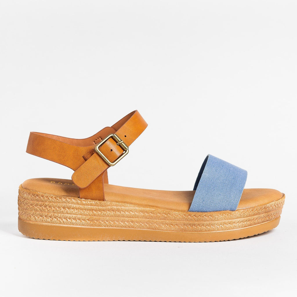 Womens Everyday Espadrille Wedges - Bamboo Shoes - Blue / 5
