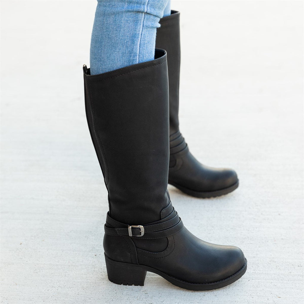 Women's Everyday Fall Riding Boots - Soda Shoes - Black / 5
