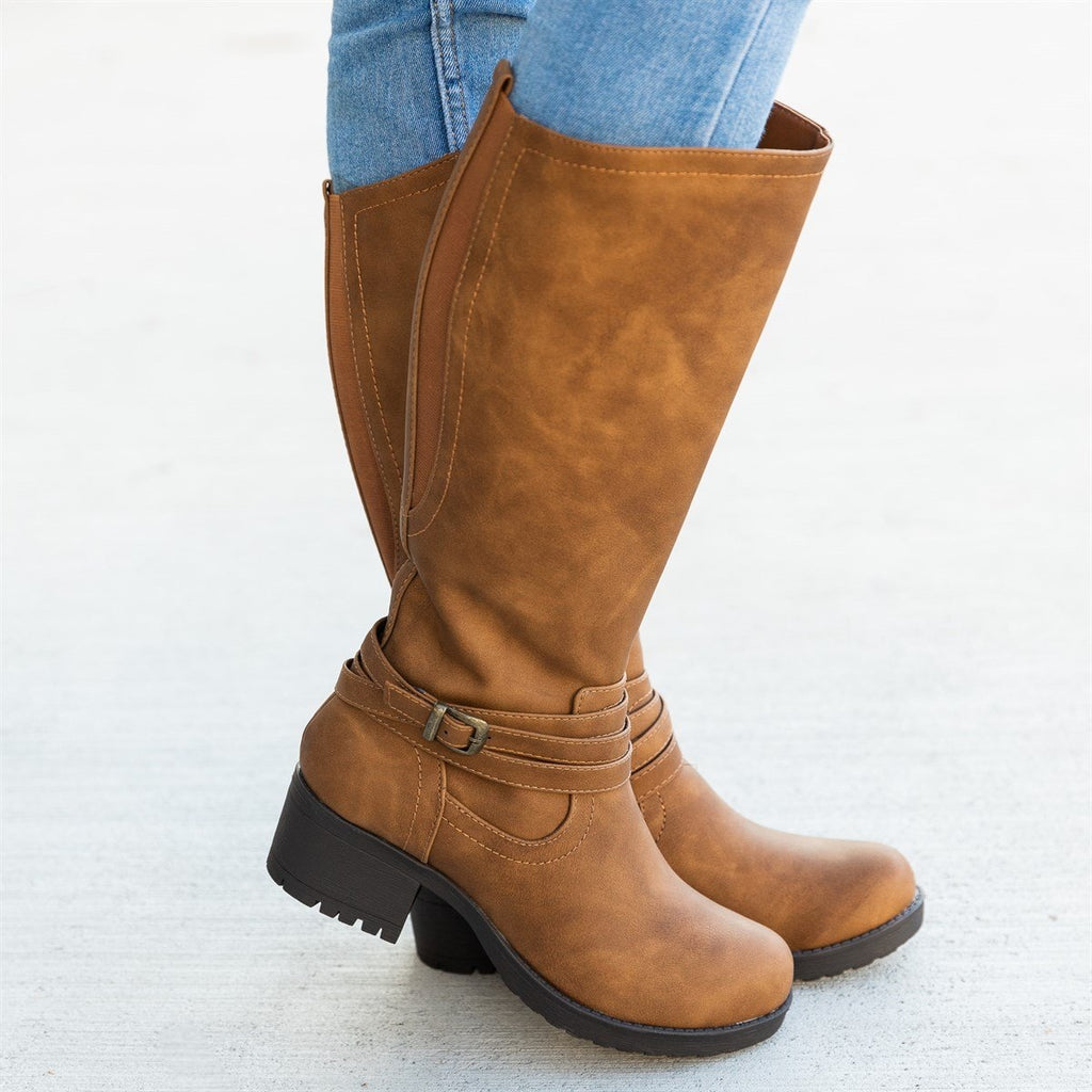 Women's Everyday Fall Riding Boots - Soda Shoes - Light Brown / 5