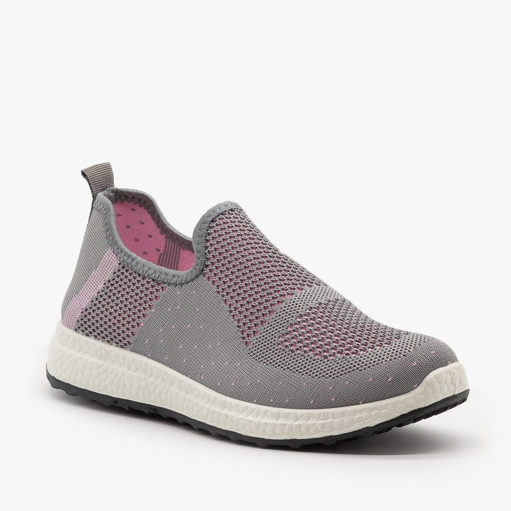 Womens Everyday Slip-On Mesh Sneakers - Forever - Gray Pink / 5