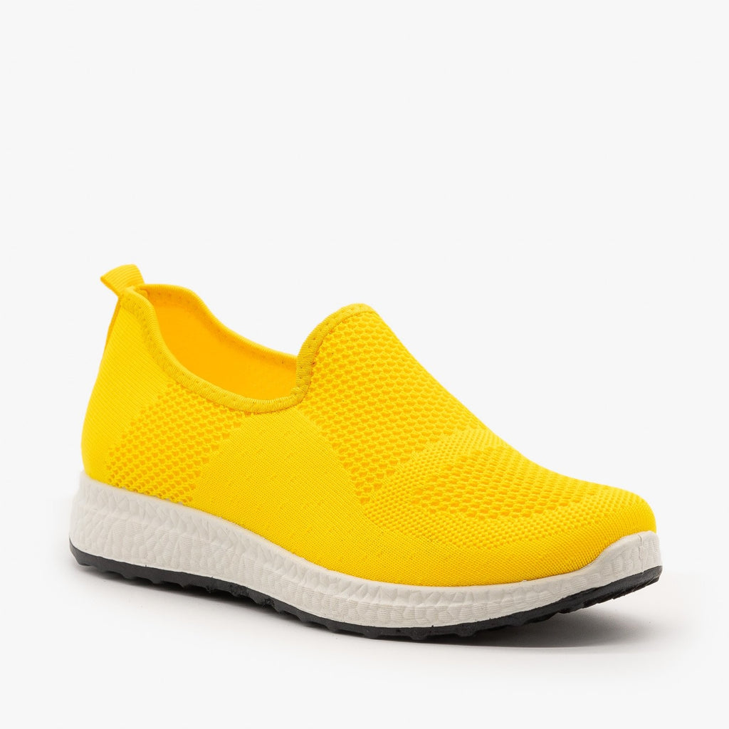 Womens Everyday Slip-On Mesh Sneakers - Forever - Neon Yellow / 5