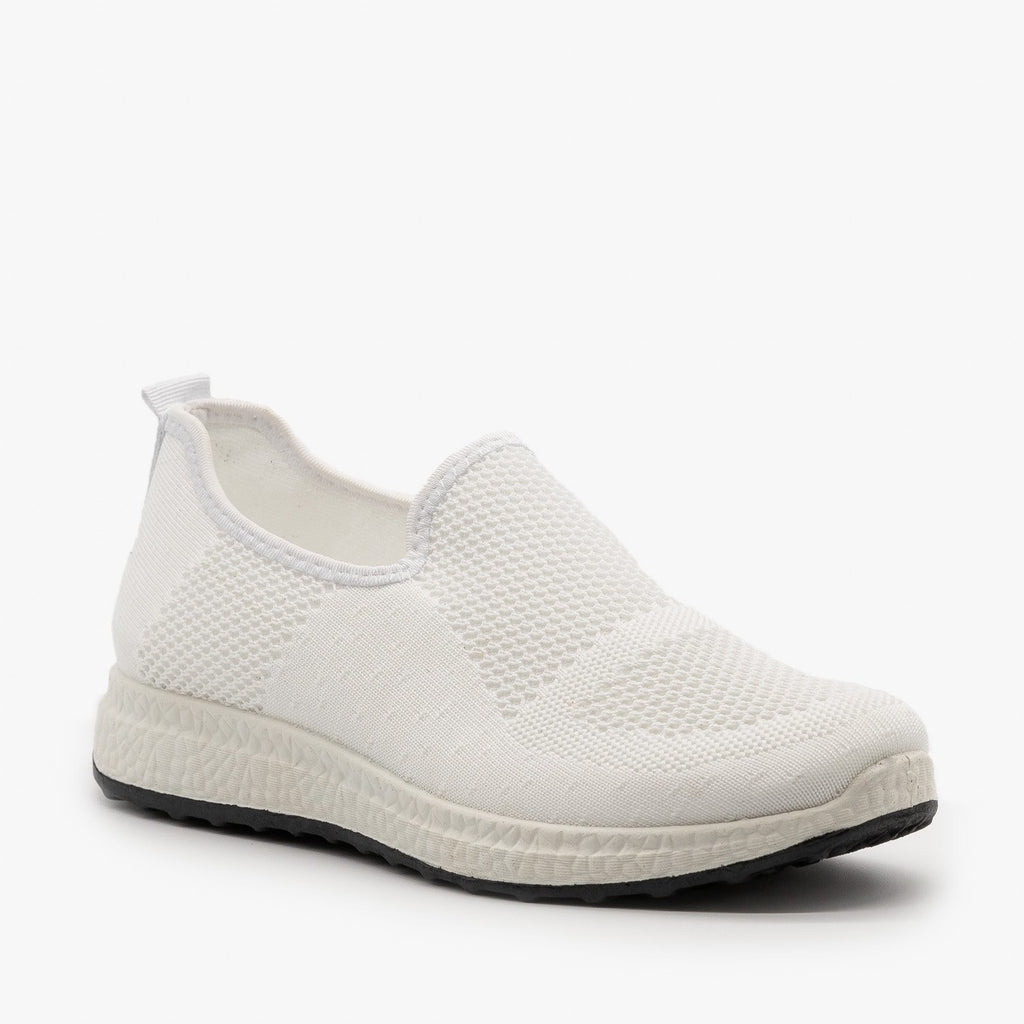 Womens Everyday Slip-On Mesh Sneakers - Forever - White / 5