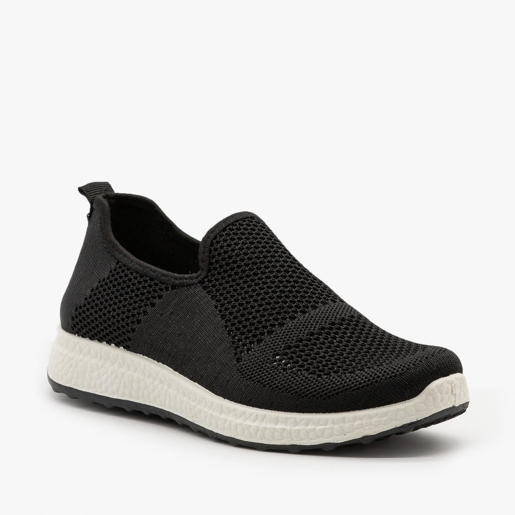 Womens Everyday Slip-On Mesh Sneakers - Forever - Black / 5