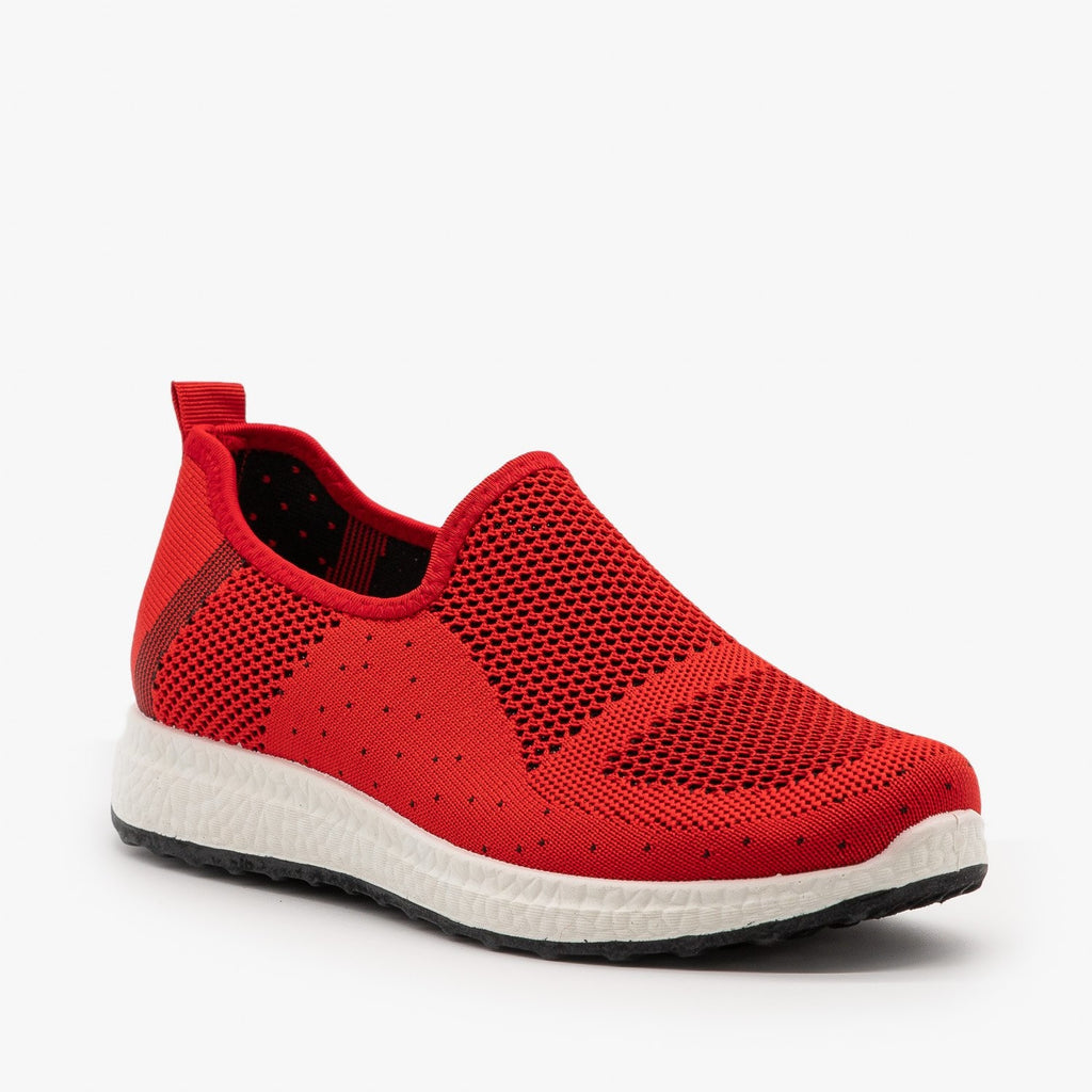 Womens Everyday Slip-On Mesh Sneakers - Forever - Red / 5