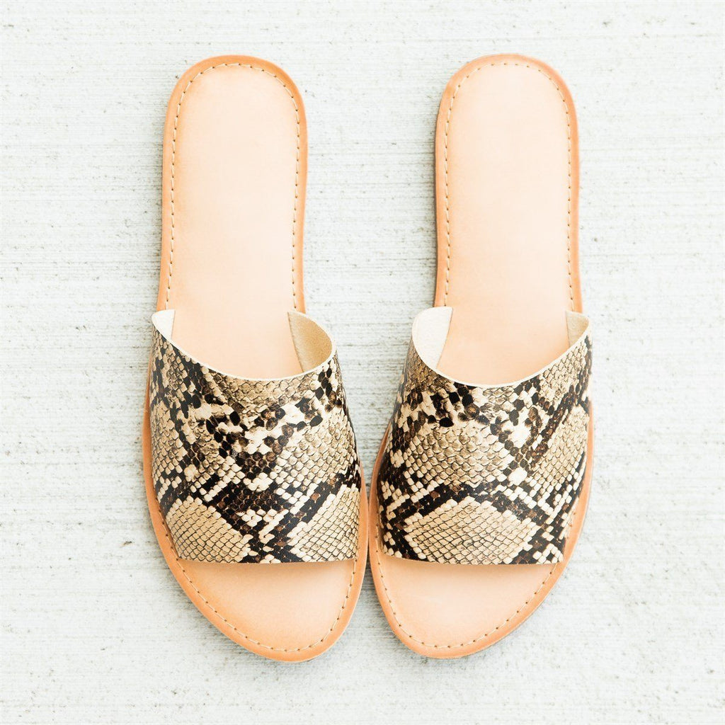Womens Everyday Slip-On Sandals - Soda Shoes - Tan Snake / 5