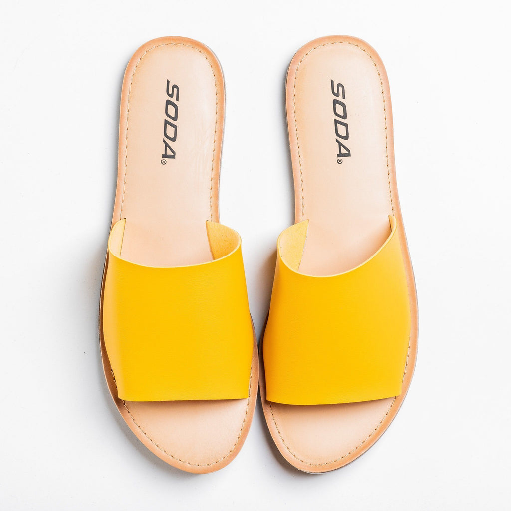 Womens Everyday Slip-On Sandals - Soda Shoes - Mustard / 5