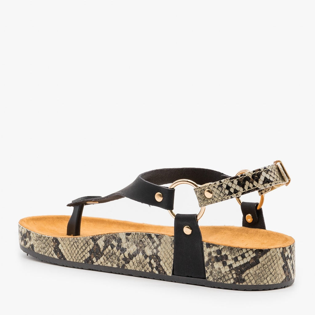 Women's Everyday Snake Print Sandals - Anna Shoes