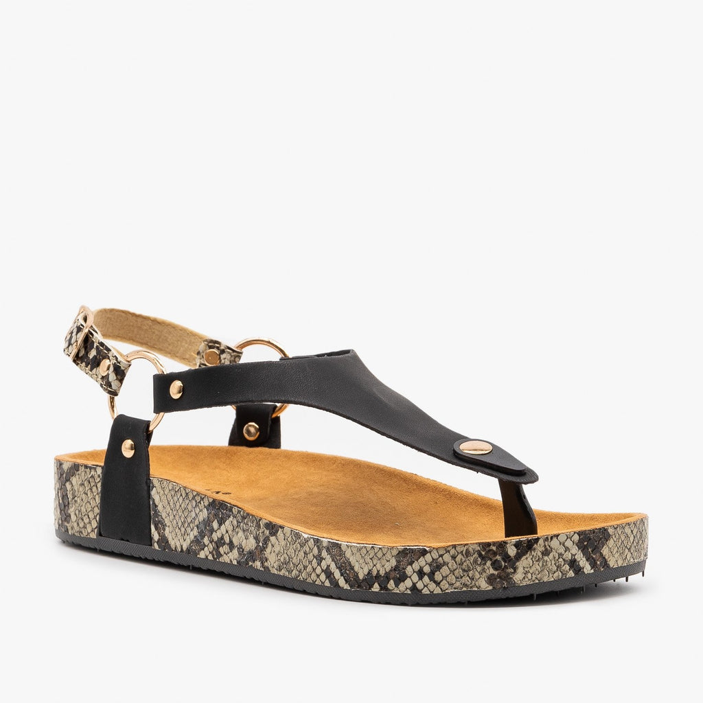 Womens Everyday Snake Print Sandals - Anna Shoes - Black / 5