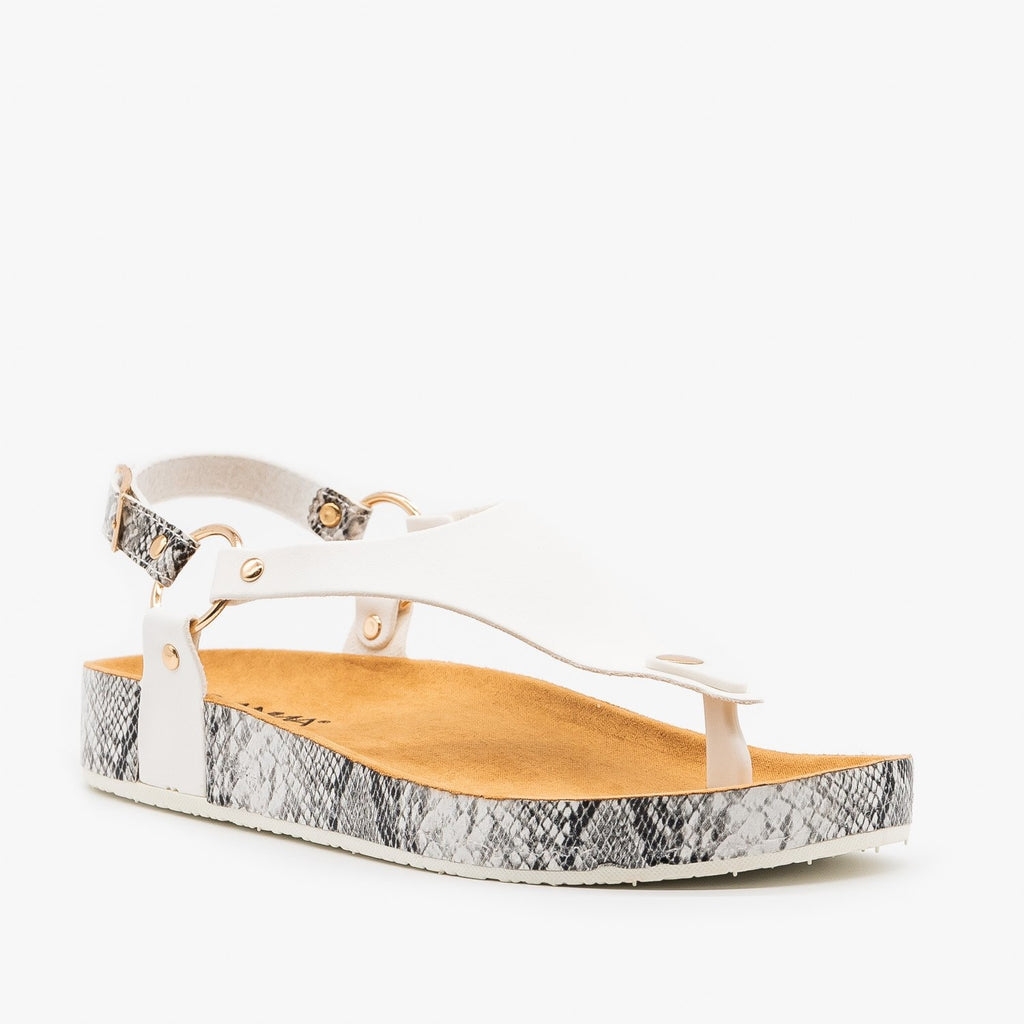 Womens Everyday Snake Print Sandals - Anna Shoes - White / 5