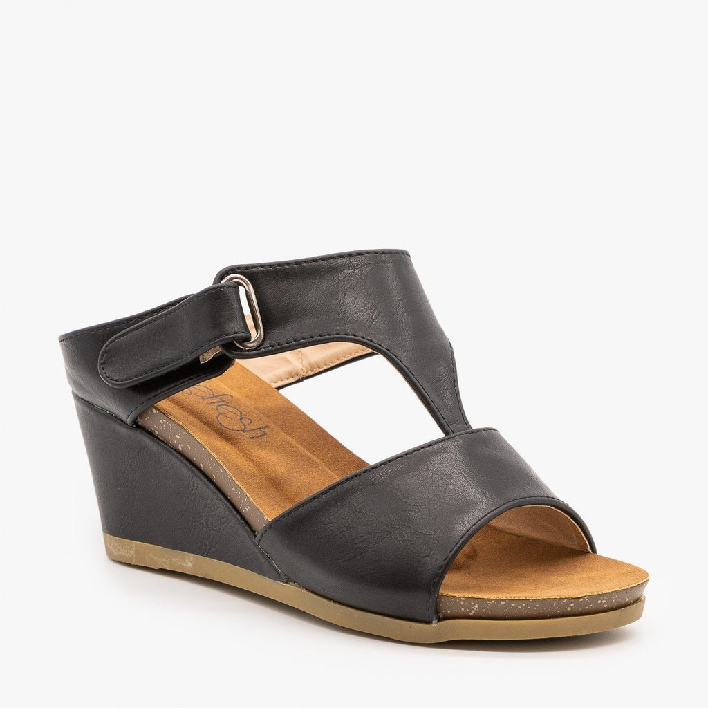 Womens Everyday Wedge Sandals - Refresh - Black / 5