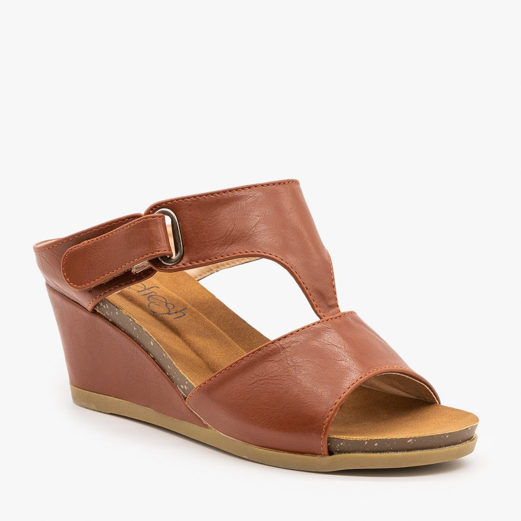 Womens Everyday Wedge Sandals - Refresh - Rust / 5