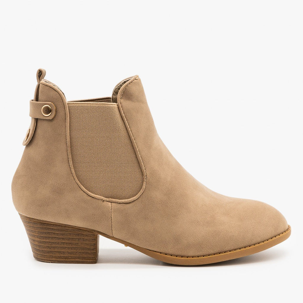 Womens Everyday Western Chelsea Booties - Top Moda - Khaki / 5