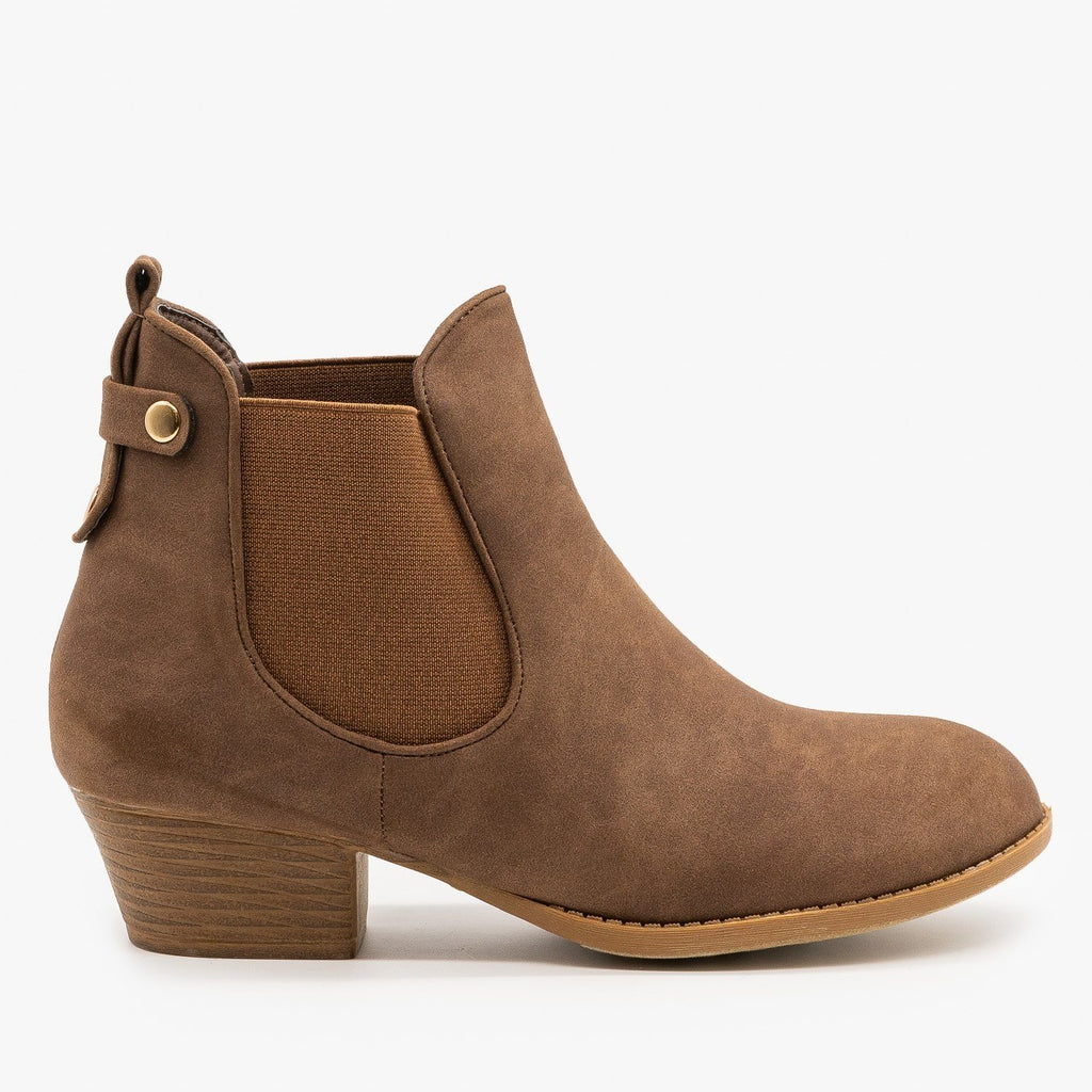 Womens Everyday Western Chelsea Booties - Top Moda - Brown / 5