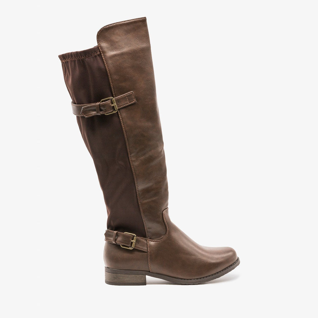 Womens Fabulous Buckled Riding Boots - Refresh - Brown / 5