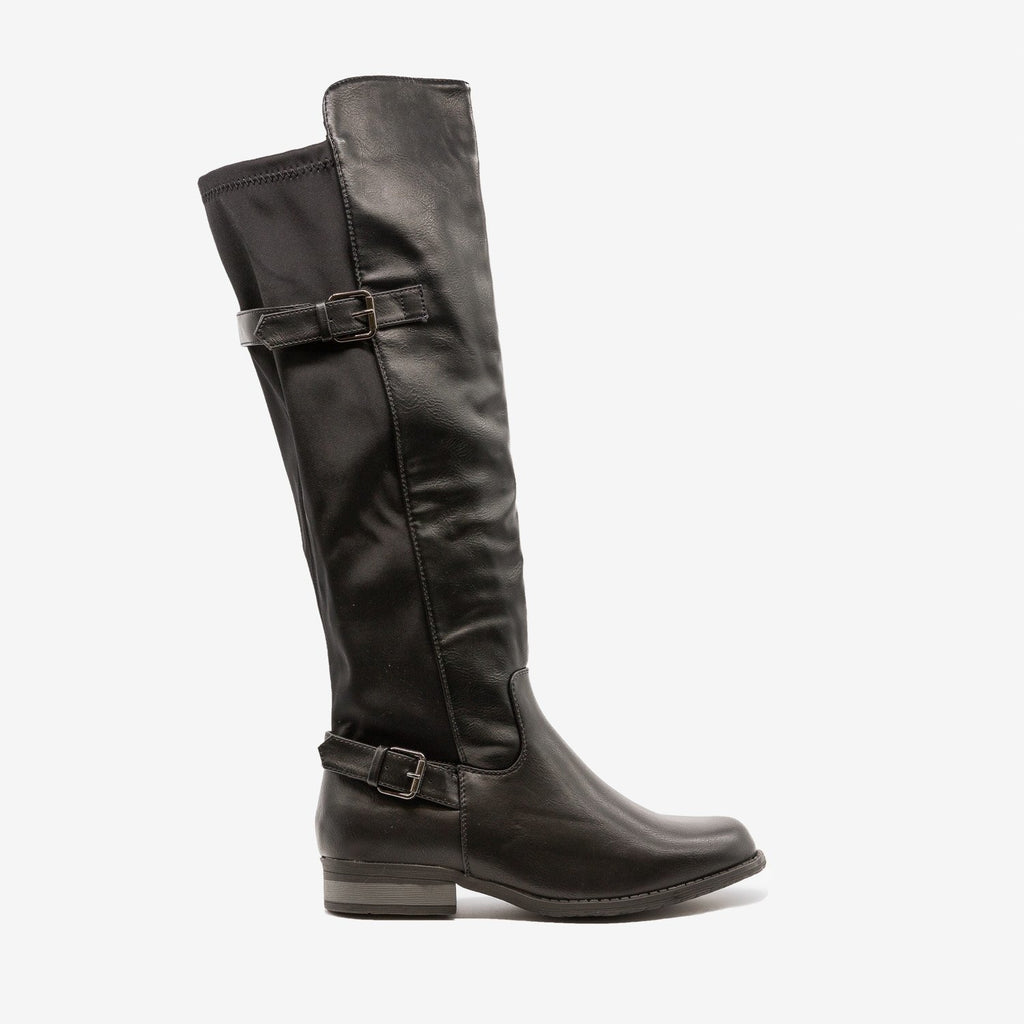 Womens Fabulous Buckled Riding Boots - Refresh - Black / 5