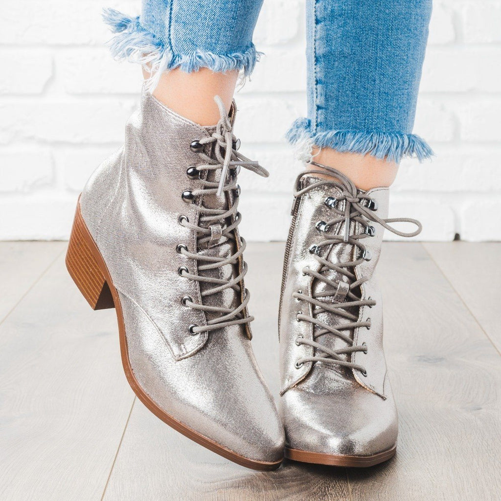 Womens Fall Lace-up Boots - Qupid Shoes