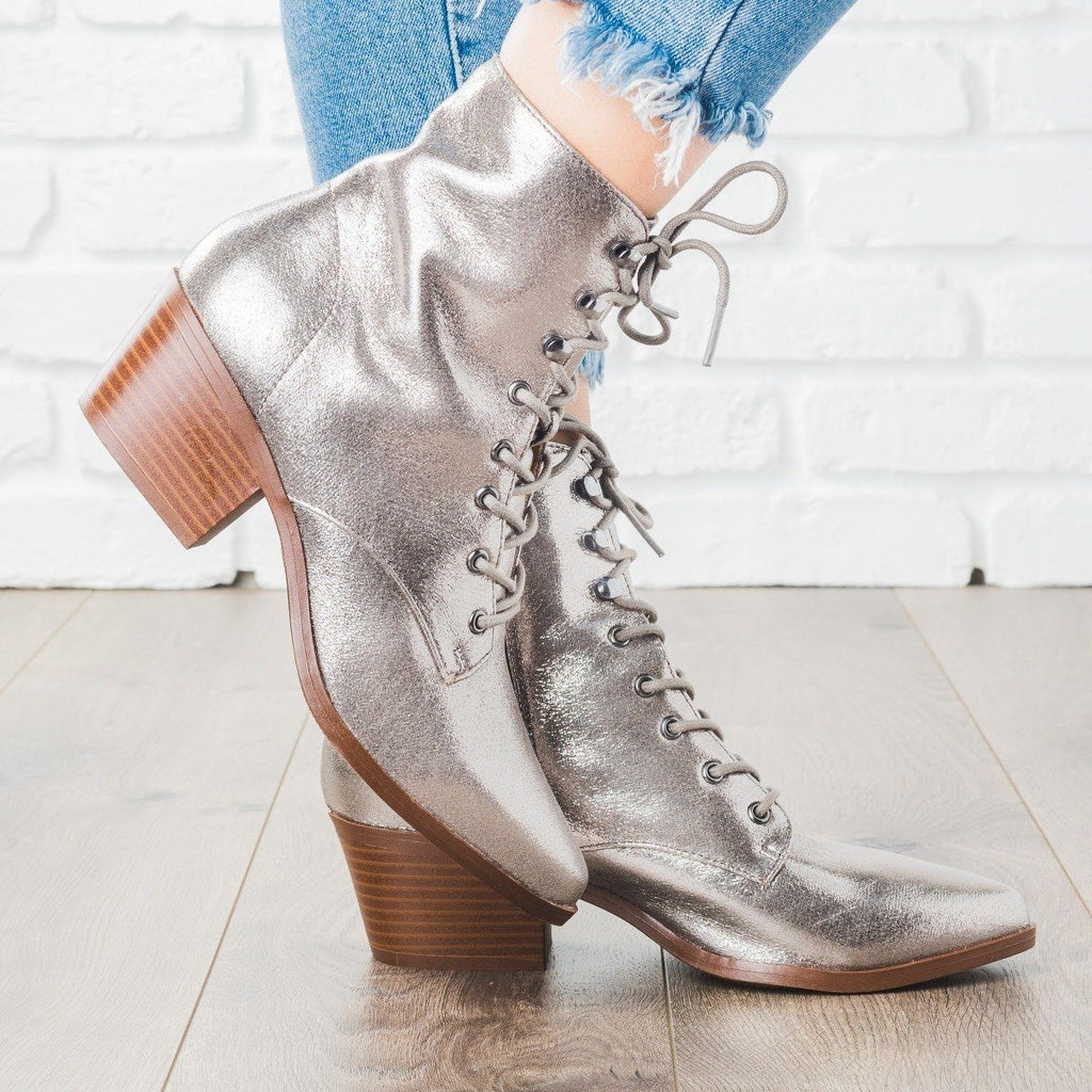 Womens Fall Lace-up Boots - Qupid Shoes - Pewter / 5