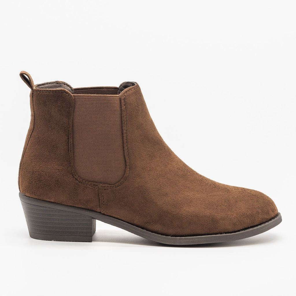 Womens Fall Slip-on Bootie - Refresh - Brown / 5