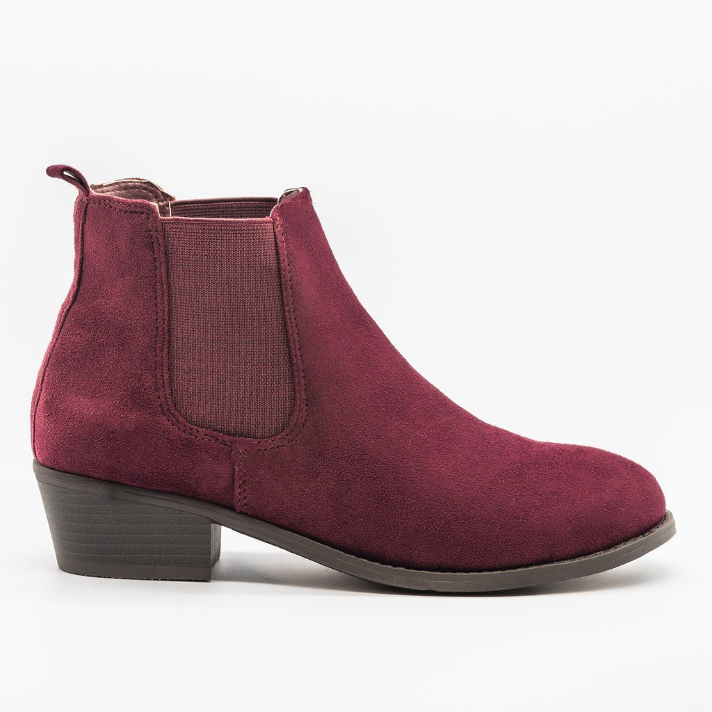 Womens Fall Slip-on Bootie - Refresh - Burgundy / 5