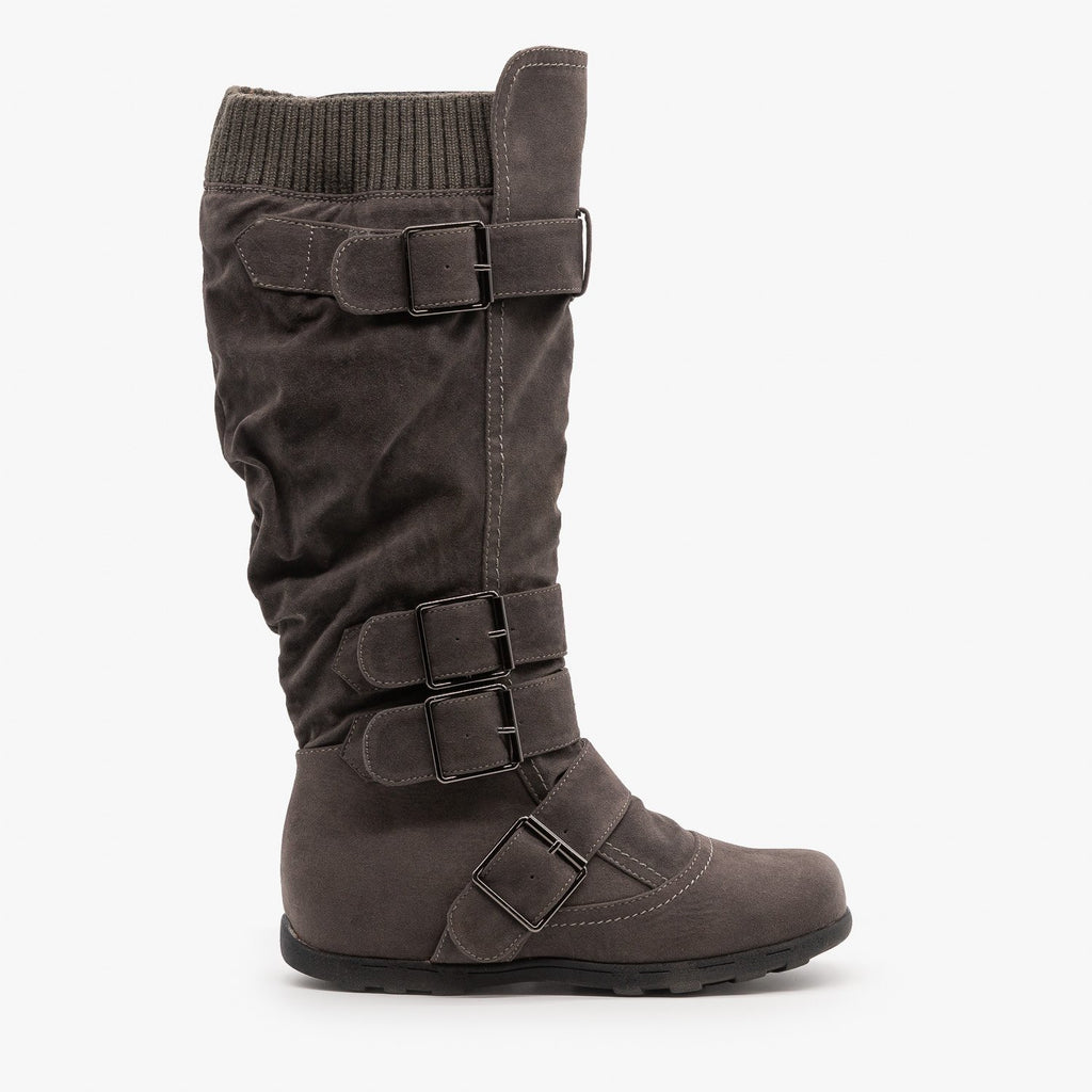Womens Fashion Buckle Knee-High Boots - Refresh - Charcoal / 5