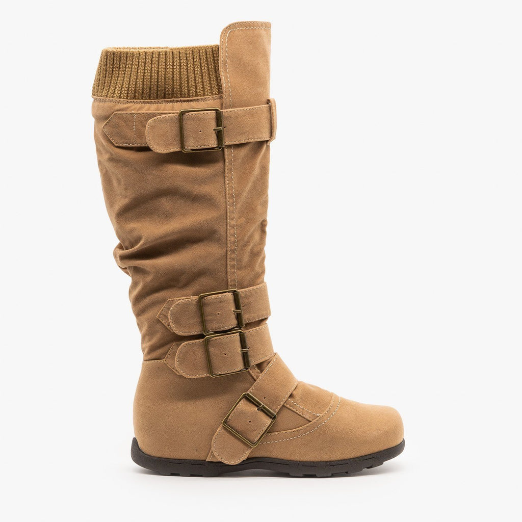 Womens Fashion Buckle Knee-High Boots - Refresh - Light Camel / 5