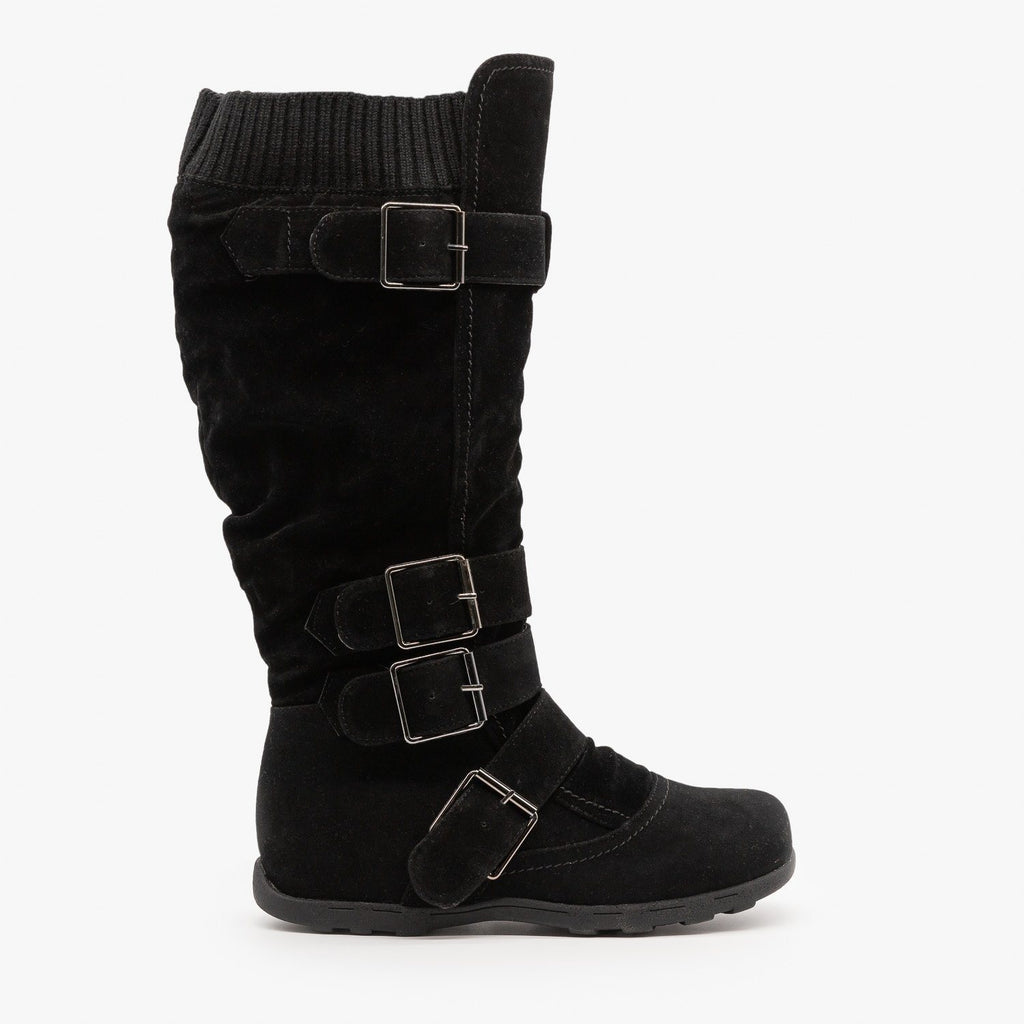 Womens Fashion Buckle Knee-High Boots - Refresh - Black / 5