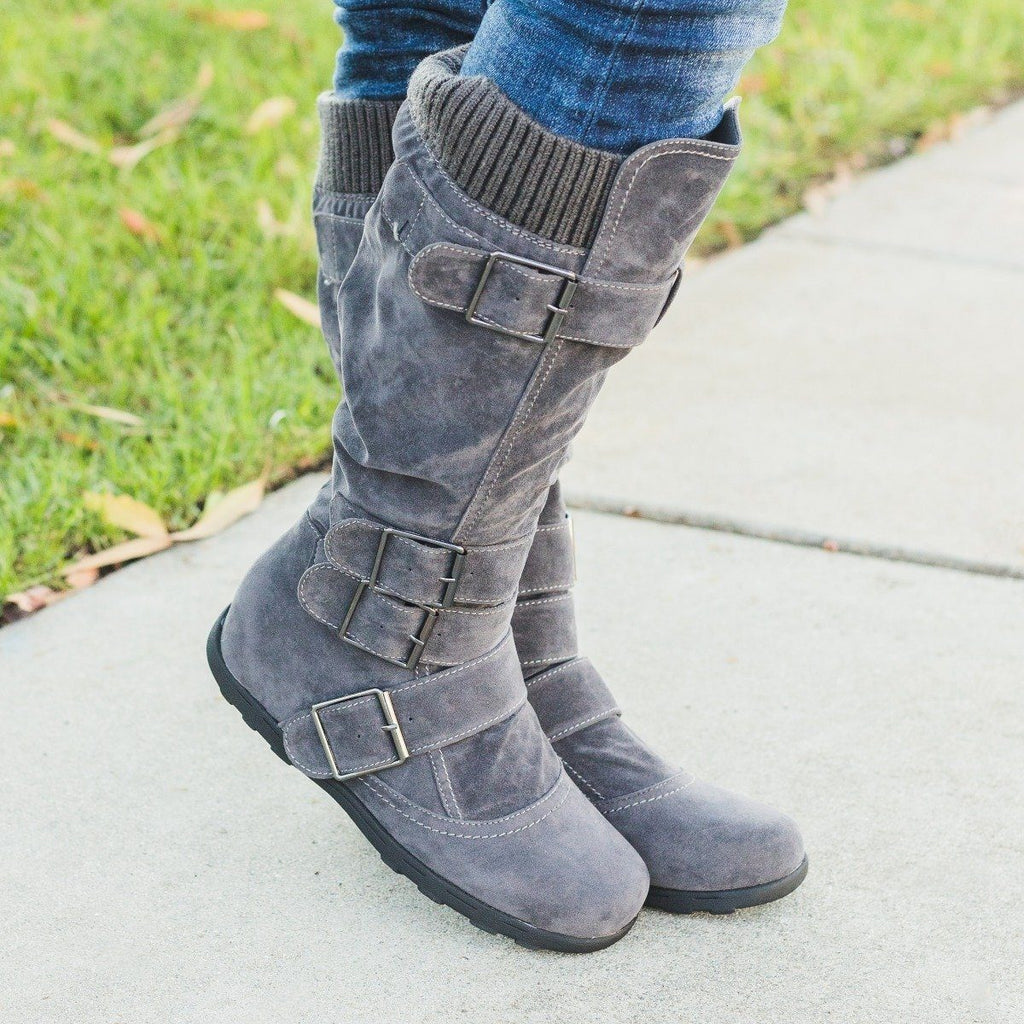 Womens Fashion Buckle Knee-High Boots - Refresh - Gray / 5