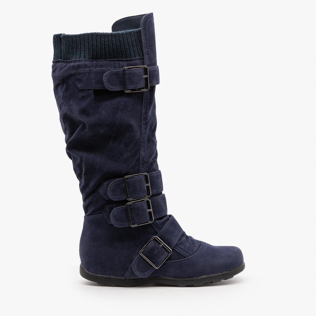 Womens Fashion Buckle Knee-High Boots - Refresh - Navy / 5