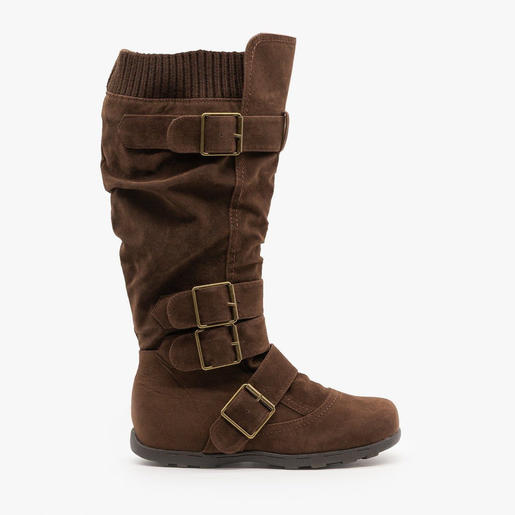 Womens Fashion Buckle Knee-High Boots - Refresh - Brown / 5