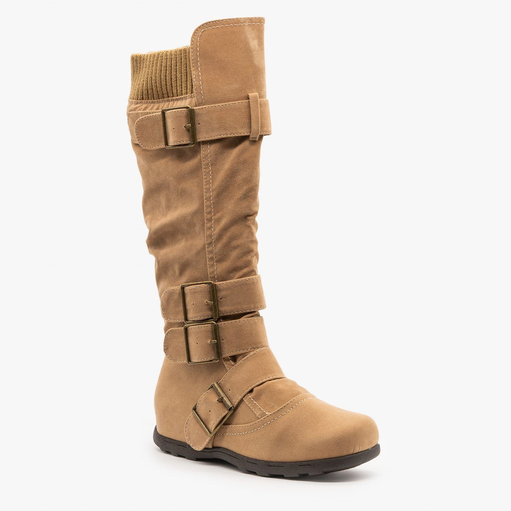 Womens Fashion Buckle Knee-High Boots - Refresh