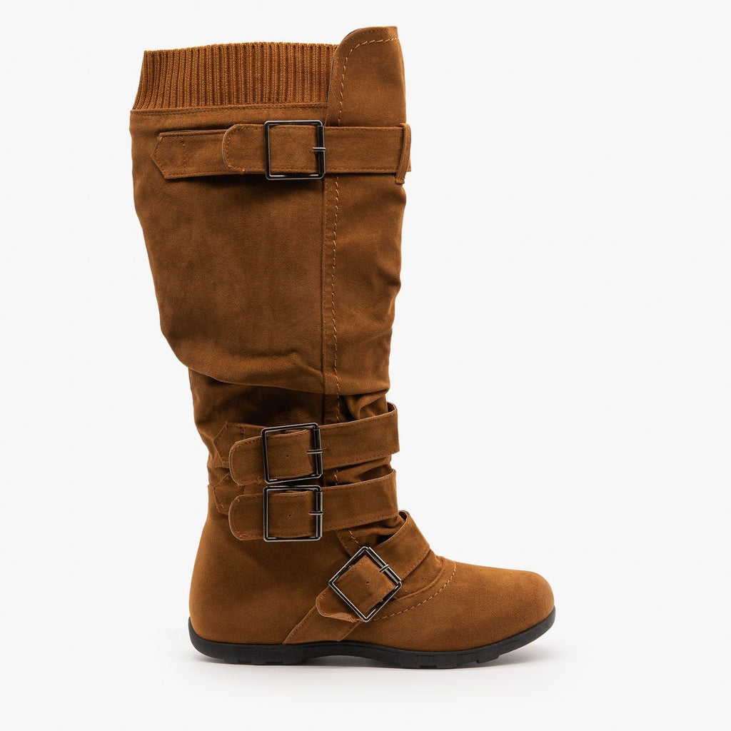 Womens Fashion Buckle Knee-High Boots - Refresh - Tan / 5