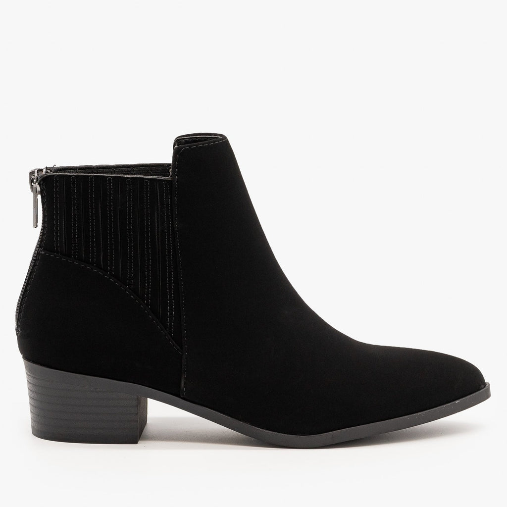 Womens Fashion Forward Ankle Booties - City Classified Shoes - Black / 5