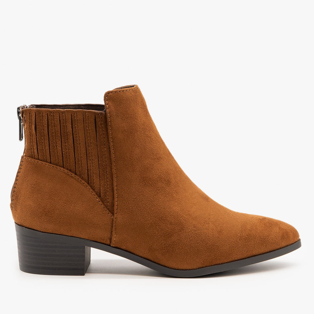 Womens Fashion Forward Ankle Booties - City Classified Shoes - Cognac / 5