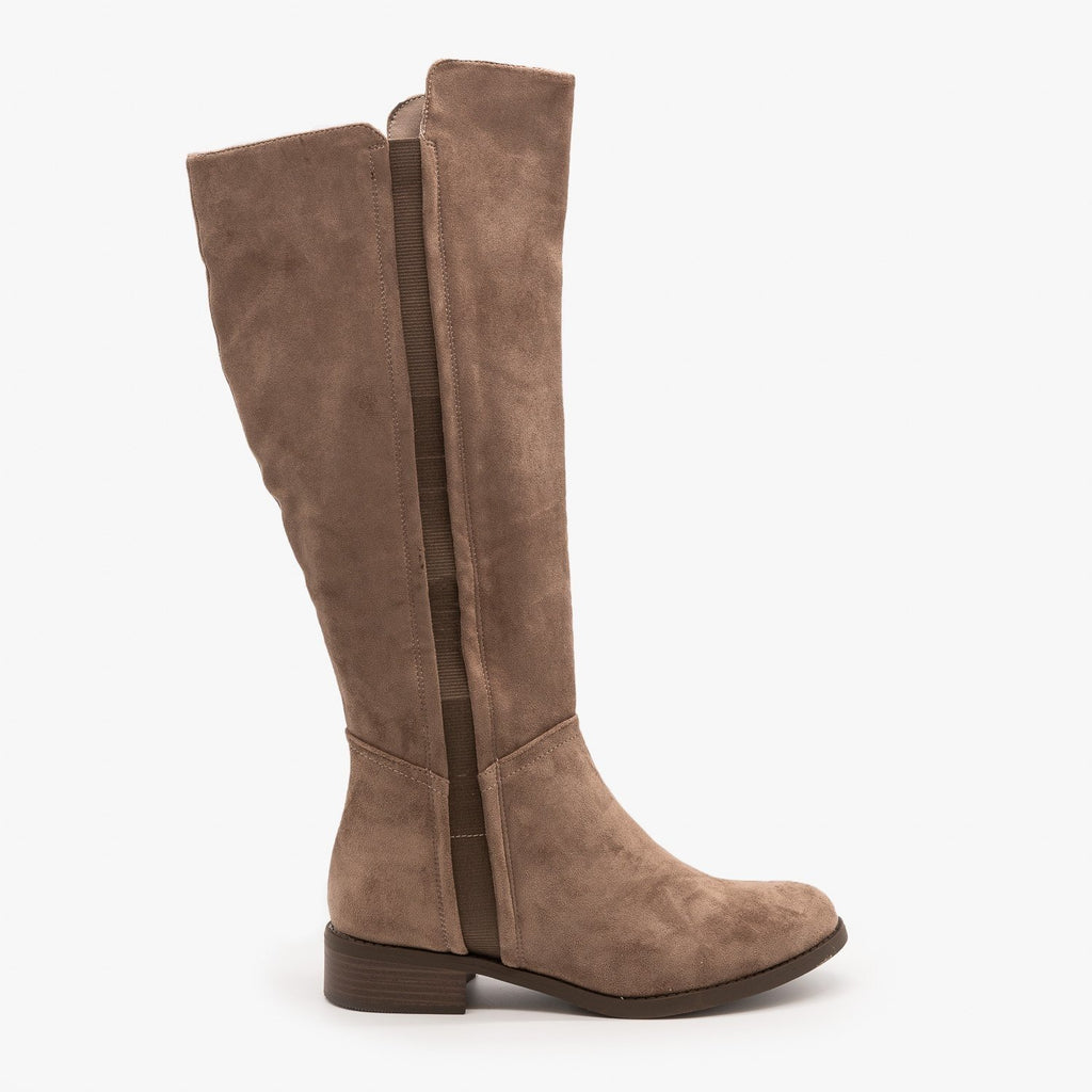 Womens Fall Fashion Rider Boots - Nature Breeze - Taupe / 5