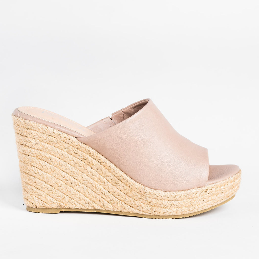 Womens Fashionable Espadrille Mule Wedges - Refresh - Taupe / 5