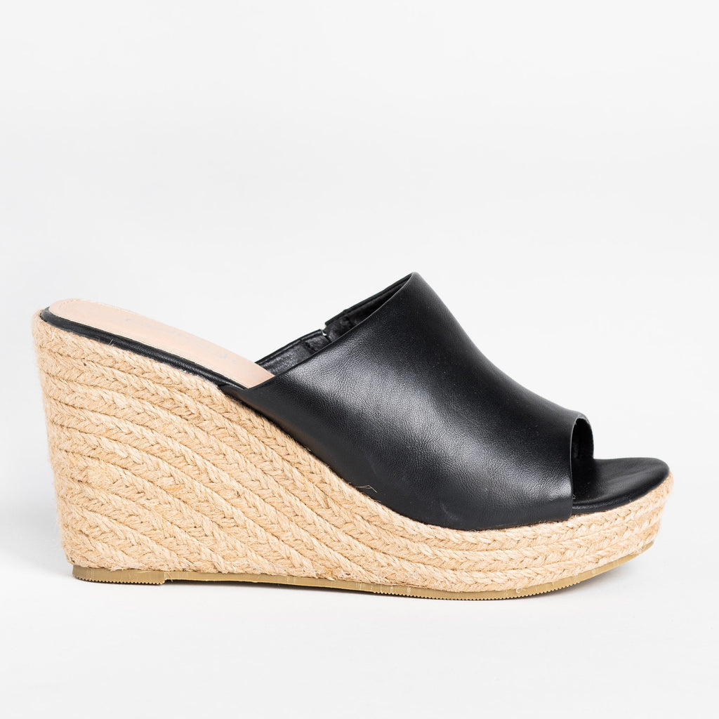 Womens Fashionable Espadrille Mule Wedges - Refresh - Black / 5