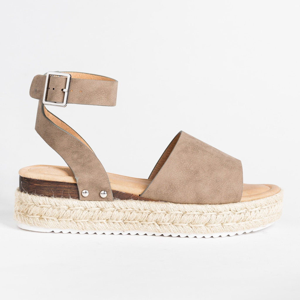 Womens Fashionista Espadrille Sandals - Bella Marie - Taupe / 5