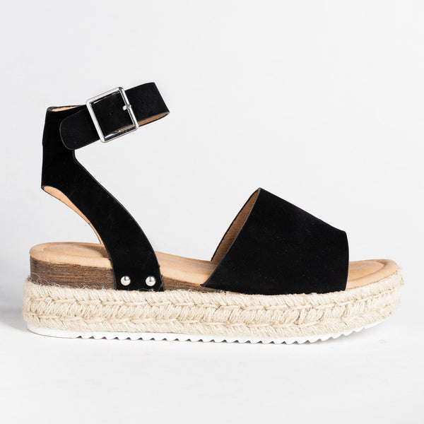 Womens Fashionista Espadrille Sandals - Bella Marie - Black / 5