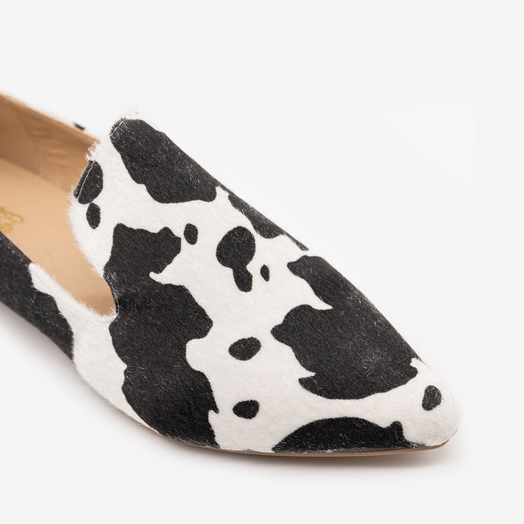 Women's Faux Cowhide Loafers - Mata