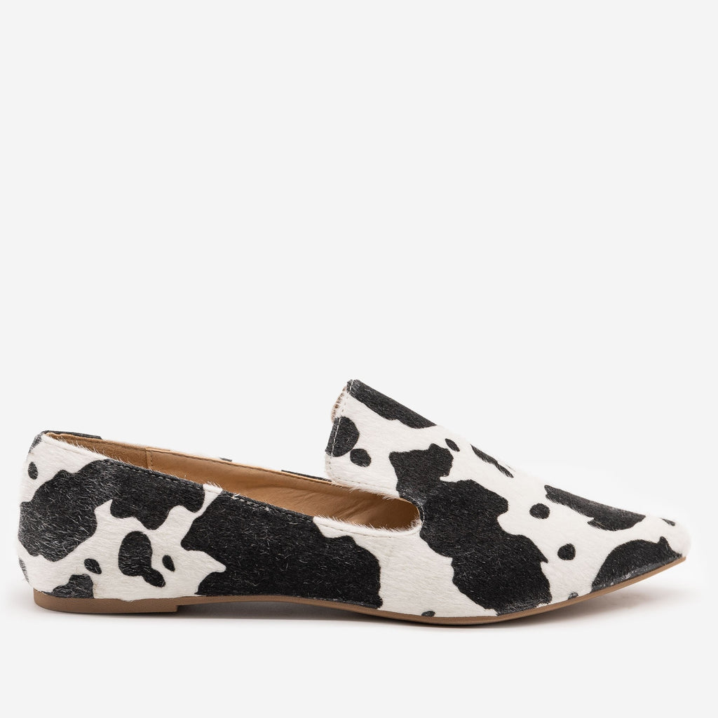 Women's Faux Cowhide Loafers - Mata - Cow / 5