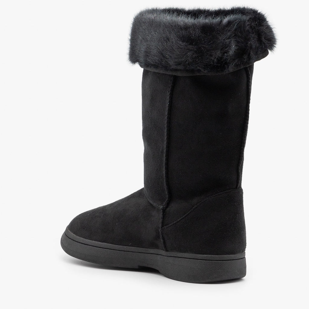 Womens Faux Fur Cuff Winter Boots - Bamboo Shoes