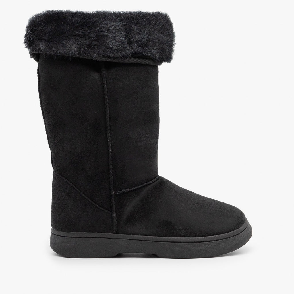 Womens Faux Fur Cuff Winter Boots - Bamboo Shoes - Black / 5