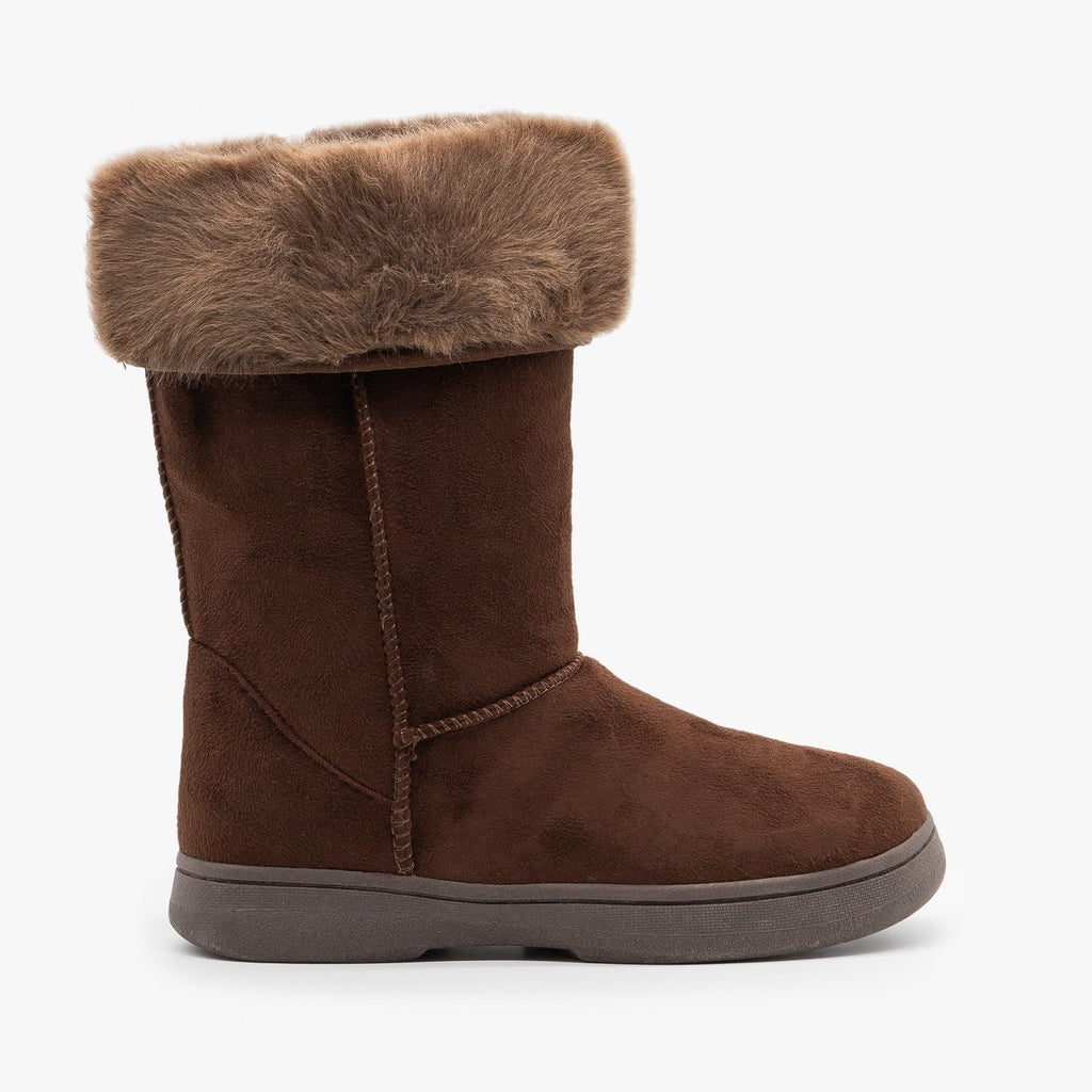 Womens Faux Fur Cuff Winter Boots - Bamboo Shoes - Brown / 5