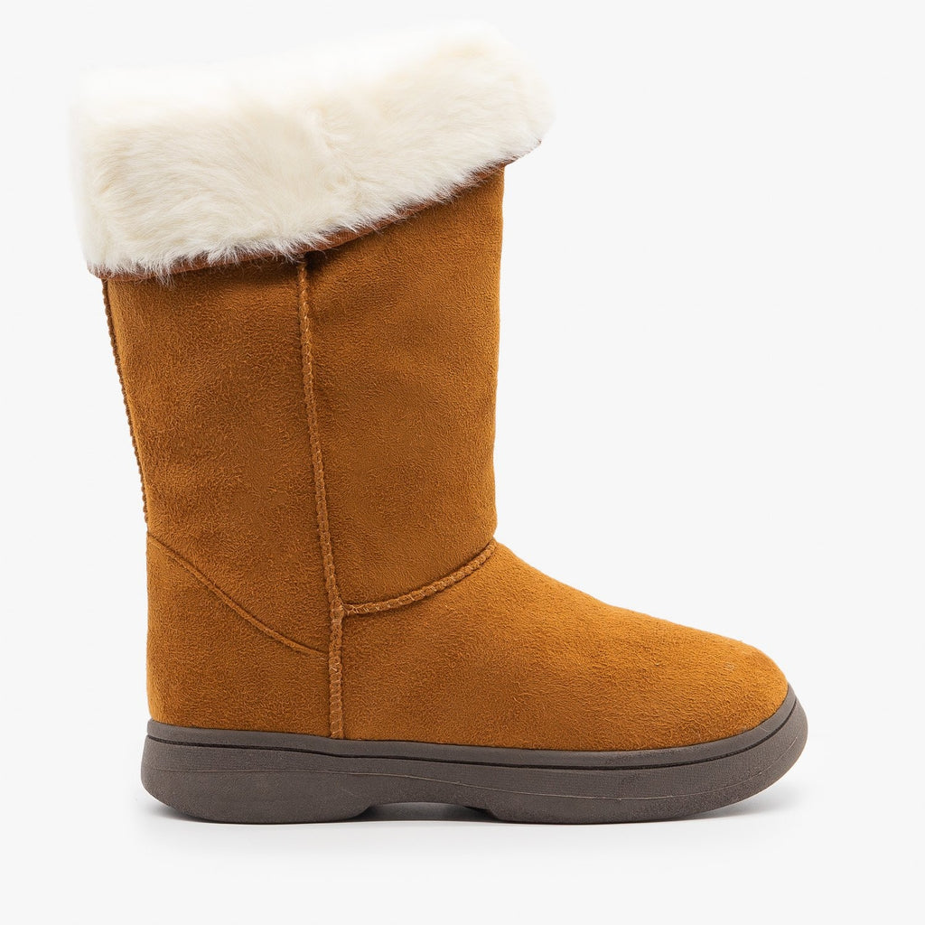 Womens Faux Fur Cuff Winter Boots - Bamboo Shoes - Chestnut / 5